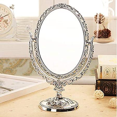 Domeilleur Miroir cosmétique Miroir de Bureau Miroir de Maquillage Miroir Rotatif de Bureau Vintage de Miroir de Maquillage avec l\'outil de décor de vignes de Papillon Rose