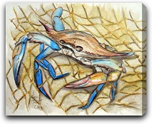 """Blue Crab by Mark Ray - 30"""" x 24"""" Gallery Wrapped Premium Canvas Print"""