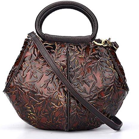 ハンドバッグ - 三次元のエンボス加工革のハンドバッグ、レトロショルダーバッグメッセンジャーバッグ、牛革、28 * 15 * 20.5センチメートル よくできた (Color : Brown)