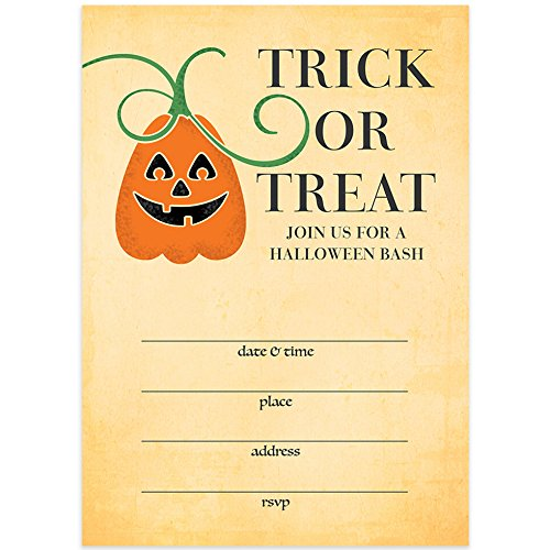 Trick Or Treat Halloween Party Invites & Envelopes (Pack of 25) Rustic Shabby Chic Pumpkin Party Large Blank 5x7