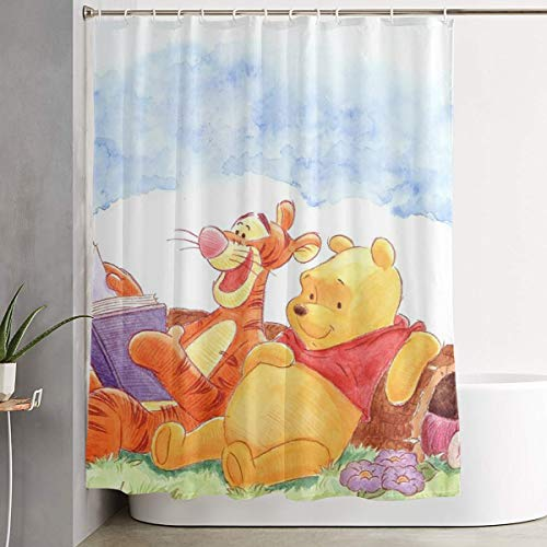 (HYHSGMV Home Hotel Stylish Fabric Shower Curtain Liner Or Shower Curtain Winnie The Pooh and Tiger, 60 X 72 Inches Included Fabric Bathroom Decor Set with Hooks)