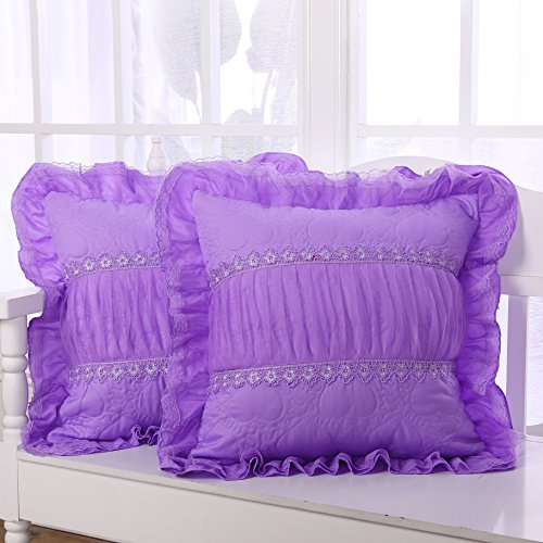 Lotus Karen Purple Ruffle Throw Pillows Soft Korean Decorative Quilted Heart Pattern Square Throw Cushion Cover Set of 2pc(Same Color)