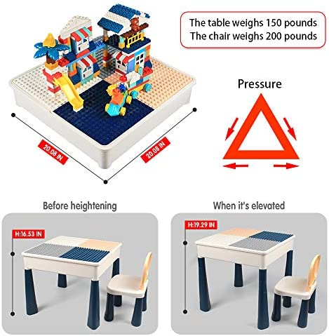 GobiDex Upgrade Multi Activity Table Set For Kids With 2 Chairs-Play Table And Building Block Table With Storage,158 Pcs Blocks Compatible Bricks Toy,for Learning,Drawing,Playing And Eating