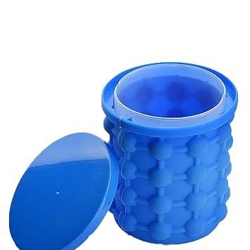 XIAOJUNJUN Moldes Para Helados Caja De Hielo Azul, Cubo De Hielo De Gel De Sílice 10.5 * 14 * 12.8Cm (Puede Almacenar 120 Cubitos De Hielo): Amazon.es: ...