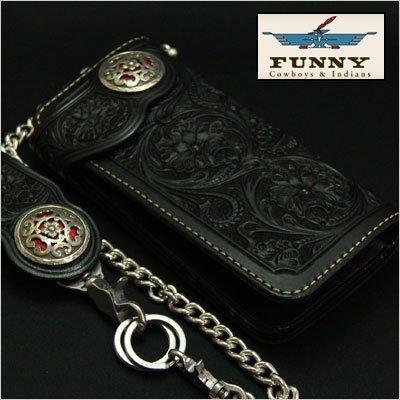 FUNNY/ファニーシェリダンウォレット カービング クロコダイルインレイ ブラック B01AM8MXWW