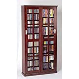 Leslie Dame MS-700DC Mission Multimedia DVD/CD Storage Cabinet with Sliding Glass Doors, Cherry