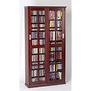 Leslie Dame MS 700DC Mission Multimedia DVD/CD Storage Cabinet With Sliding Glass  Doors