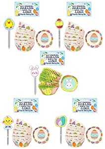 Rimi Hanger 48 PCS Lovely Easter Cake Cupcake Wraps Toppers Baking Case Decoration Set One Size