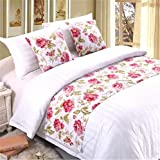 YIH Bed Runner Red Flower With Cushion Cover, Luxury Hotel Wedding Room Bedroom Decorative Bed End Scarf Protector Slipcover Pad For Pets, 82 Inches By 19 Inches