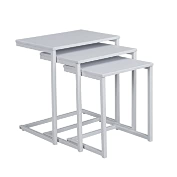 Aingoo Nesting Table Set Of 3 End Side Table, Small MDF Coffee Table,  Durable