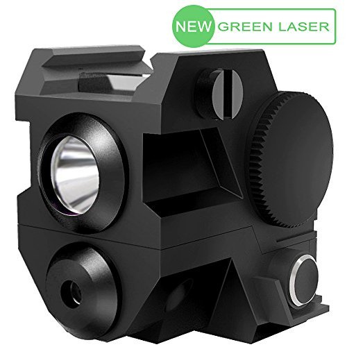 LASPUR Mini Tactical Sub Compact Rail Mount Green Laser Sight with High Lumen CREE LED Flashlight Light Integrated Combo with Strobe for Pistol Rifle Handgun Gun, Black
