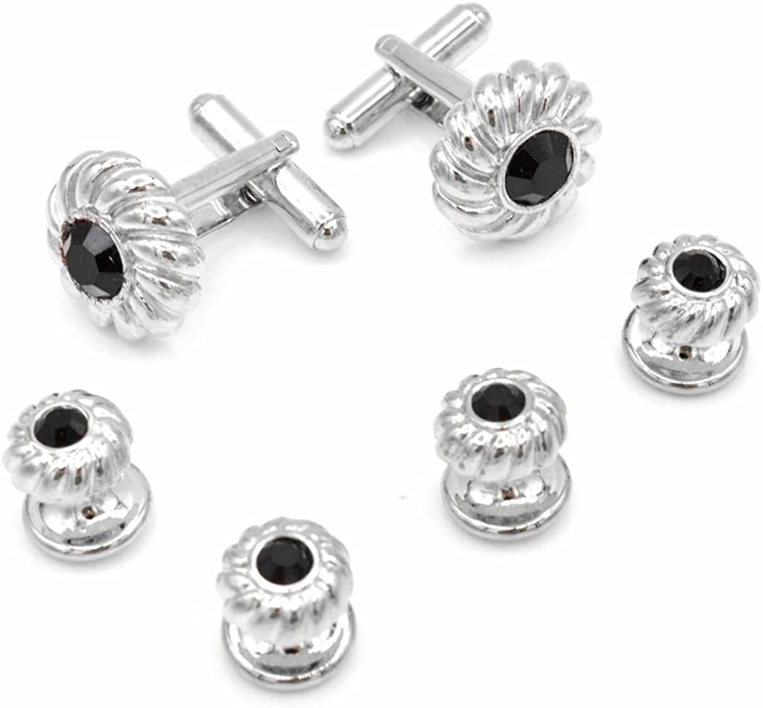 Made in the USA Black Nickel Plated Tuxedo Cufflinks and Shirt Studs
