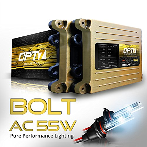 OPT7 Bolt AC 55w 9006 HID Kit - 5x Brighter - 6x Longer Life - All Bulb Sizes and Colors - 2 Yr Warranty [8000K Ice Blue Xenon Light] by OPT7
