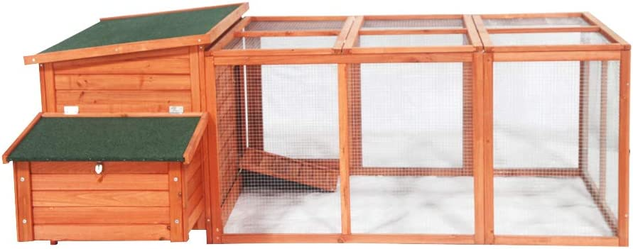 ALEKO DXH003 Fir Wood Chicken Coop Rabbit Hutch with Nesting Box and Covered Chicken Run Backyard Poultry Cage 57 x 87 x 32 Inches