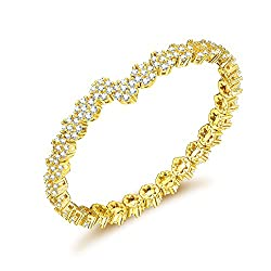 Adjustable Bangle Bracelet with Cubic Zirconia Crystal