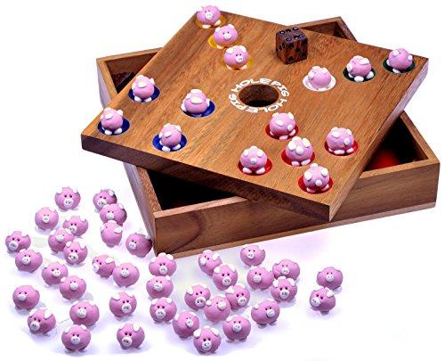 Pig Hole - Big Hole - Schweinchenspiel - Würfelspiel - Gesellschaftsspiel - Brettspiel aus Holz