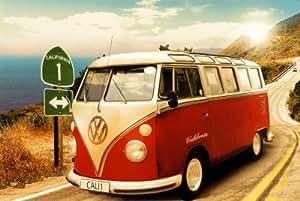 1art1 48814 Coches - Póster de furgoneta Volkswagen en la Route One de California (91 x 61 cm)