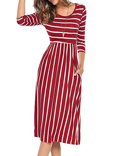 Naggoo Women's Crew Neck Striped Loose Swing T Shirt Tunic Pocket Dress XL, Wine Red ()