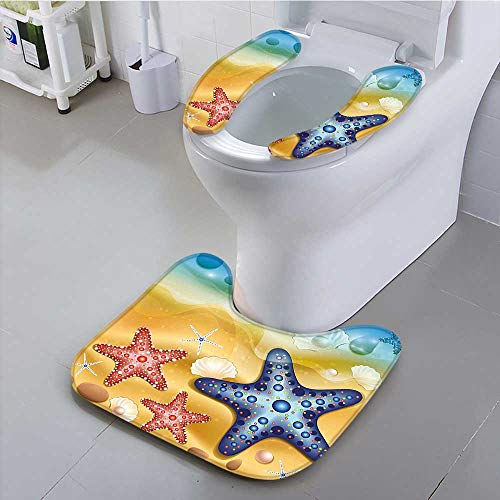 (aolankaili Non-Slip Bath Toilet Mat Bright Starfish Shell Figures with Embellished Dots Beach Summer Sun Theme Amber Blue Suit for The Toilet,)