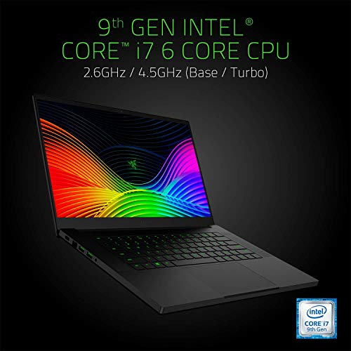 "Razer Blade 15 Gaming Laptop 2019 - Intel Core i7-9750H 6 Core, GeForce RTX 2060, 15.6"" FHD 1080p 144Hz, 16GB RAM, 512GB SSD, CNC Aluminum, Chroma RGB Lighting, Thunderbolt 3 Compatible (Renewed)"