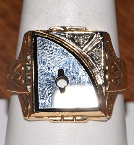 10k Yellow Gold Black Onyx Initial Ring - Mens Black Onyx Initial Ring