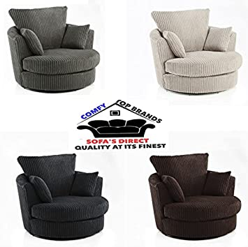 NEW DYLAN CHICAGO JUMBO CORD RIGHT HAND CORNER SOFA FERGUSON TUB SWIVEL CHAIR UK ADD A FREE FOOTSTOOL WITH YOUR ORDER! (SWIVEL CHAIR CUDDLE CHAIR,