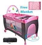Pink Baby Child Travel Cot Bed Bassin...
