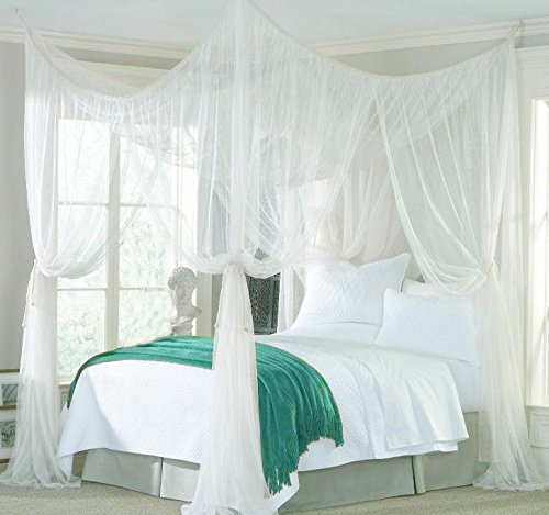 Icarekit Portable Four Corner Post Insect Mosquito Fly Bug Net Full Netting Screen Bed Canopy