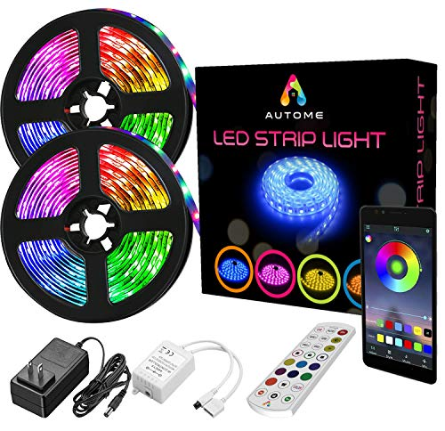 Autome Bluetooth LED Strip Lights – RGB 5050 Color Changing Music Sync Smart Lighting – App, Voice, Music Or Remote Control Party Lights for Bedroom, Kitchen & More– 32.8ft (Two 16.4ft Flexible Rolls)