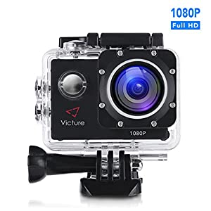 Action Camera 1080P 12MP Waterproof Sports Cam 30M Underwater Diving Camera with 170 Wide Angle and Rechargeable Battery, Include Waterproof Case