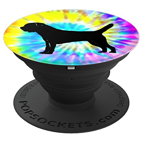 Border Terrier Dog Silhouette with Puppy Tie Dye Prints - PopSockets Grip and Stand for Phones and Tablets - Border Terrier Prints