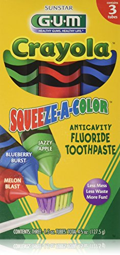 Toothpaste Flavored (GUM Crayola Squeeze-A-Color Toothpaste, 3- 1.5oz Tubes)