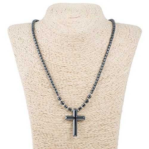 BlueRica Hematite Cross Pendant on Hematite Beaded Necklace (22 Inches) by BlueRica