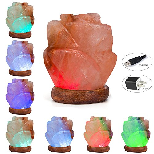 Niubity Himalayan Pink Natural Salt Lamp,USB Wooden Base Himalayan Crystal Rock Salt Lamp Air Purifier Night Light (Rose)