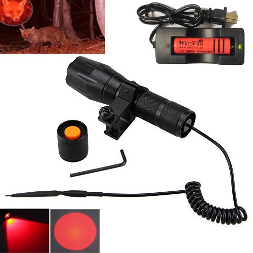 WindFire S2-R Red Hunting Light Zoomable Adjustable Focus Cree LED Coyote Hog Fox Predator Varmint Hunting Lamp Kits, Presure Switch, Barrel Rail Rifle Mount, 18650 Rechargeable Battery and (Presure Switch)