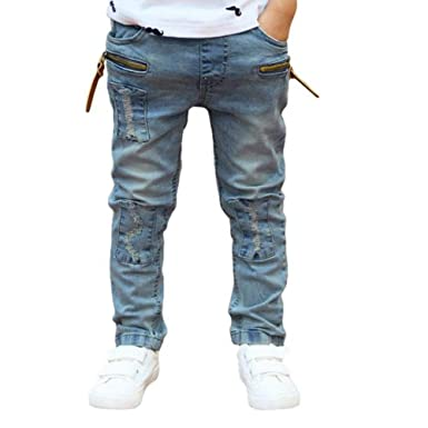 plus de photos 879aa 0a3f7 LUBITY Jeans Enfants Garçon Zipper Stretch Pantalon Slim Bleu Clair Jeans  Mode Casual Trou de Dentelle Pantalon Pas Cher Printemps Ete Pants