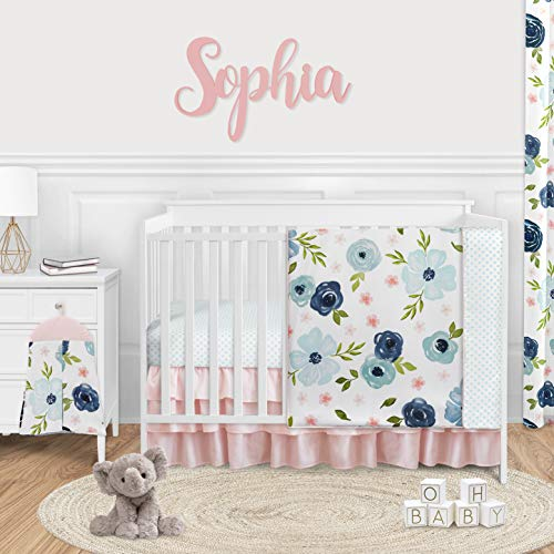 Sweet Jojo Designs Navy Blue and Pink Watercolor Floral Baby Girl Nursery Crib Bedding Set – 4 Pieces – Blush, Green and White Shabby Chic Rose Flower Polka Dot