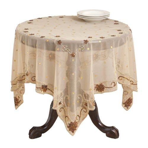 SARO LIFESTYLE NT11 Jasmine Square Table Topper, 60-Inch, Mocha by SARO LIFESTYLE