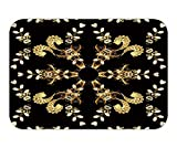 Beshowere Doormat floral ornament brocade textile pattern glass metal with floral pattern on black background with