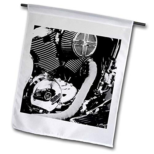3dRose Stamp City - autos - Photograph of a reflection of classic car in a motorcycle engine. - 12 x 18 inch Garden Flag (fl_289759_1) ()