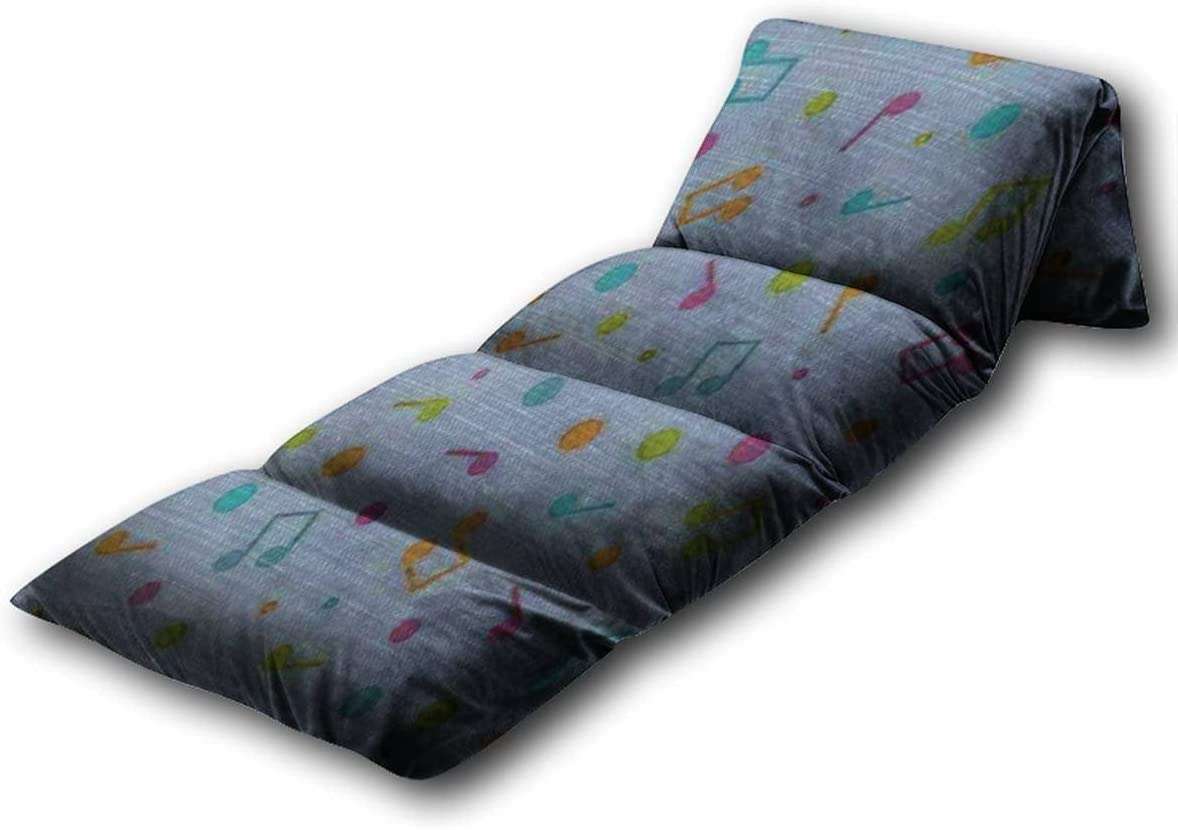Kids Floor Pillow Illustration of Seamless Pattern of Multicolored Music Notes and Pillow Bed, Reading Playing Games Floor Lounger, Soft Mat for Slumber Party, for Kids, King Size