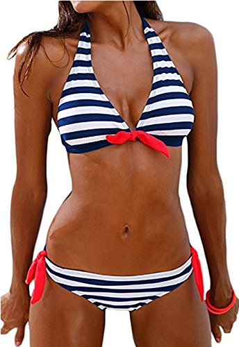 QingLemon Women's Bikini Halter Black Stripe Two Pieces Swimsuit Lovely Swimwear (XL, Blue)