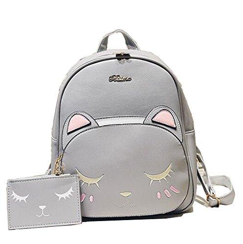 Backpack Light Gray Bag Shoulder PU Gray Pattern Women's Bag Light Girl's Cat Show School Yan wqa0HO6a