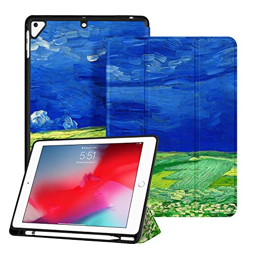 Light Wheat Six - Ayotu Soft Case for Newest iPad 9.7 Inch 2018/2017 with Pencil Holder, Lightweight Trifold Stand with Auto Sleep/Wake,Full Protective for Apple iPad 6/5th Generation,Wheat Field
