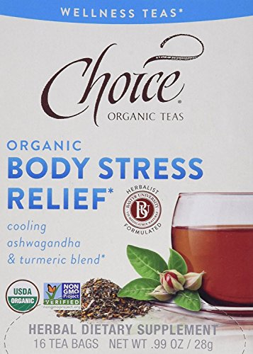 Choice Organic Teas, Body Stress Relief , Cooling Ashwagandha & Turmeric Blend , 32 counts , Pack of 2