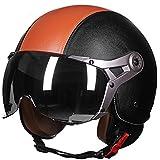 Casque de moto rétro - À moitié couvert avec visage ouvert - Pour hommes et femmes