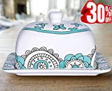 """Butter Dish Keeper with Lid Cover, 7"""" Stoneware Mint Blue Porcelain, Thanksgiving Christmas Gift"""