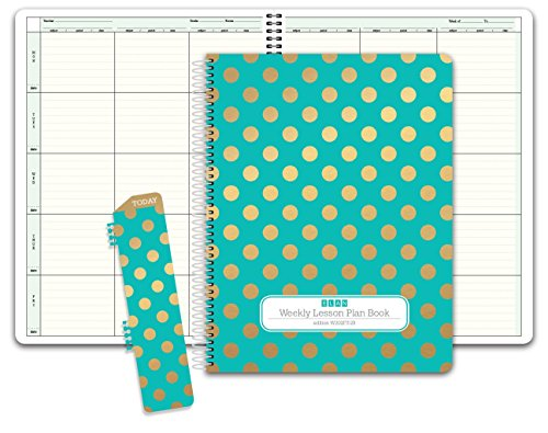 HARDCOVER 6 Period Teacher Lesson Plan; Days Vertically Down The Side (W202) (+) Bonus Clip-in Bookmark (Gold Dots Turquoise) ()