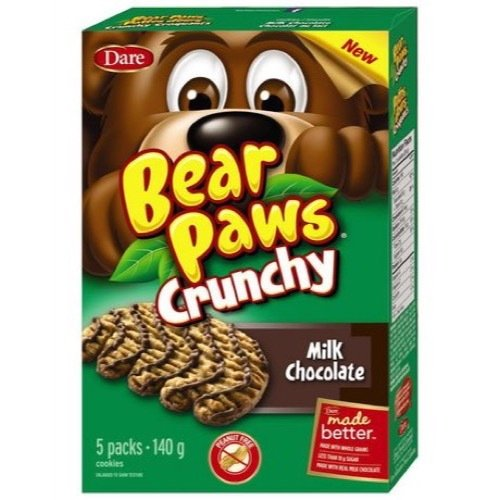 Dare Bear Paws Crunchy Milk Chocolate Cookies 140g - Peanut Free - {Imported from Canada} - Paws Milk Chocolate