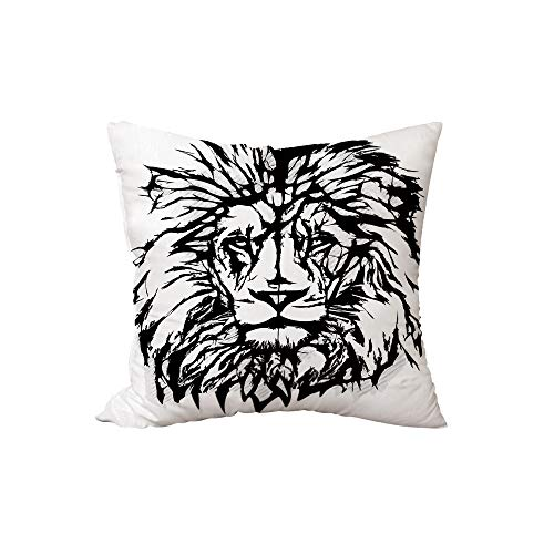 iPrint Polyester Throw Pillow Cushion,Lion,Sketch Art of African Safari Animal King of The Jungle Savannah Wildlife Decorative,Black White Pale Grey,17.7x17.7Inches,for Sofa Bedroom Car Decorate